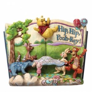 Hip, Hip, Pooh-Ray (Storybook Winnie the Pooh) 4046053 This storybook design features Winnie the Pooh, Eeyore, Piglet, Kanga, Roo, Rabbit and Tigger Too! The whole gang celebrate in the Hundred Acre Wood. Designed by award winning artist and sculptor, Jim Shore for the Disney Traditions brand. The figurine is made from resin. Packed in a branded gift box and would be perfect for any gift giving occasion. Unique variations should be expected as this product is hand painted. Not a toy or children's product. Intended for adults only. Height:16.0cm Width: 7.0cm Depth: 20.0cm SRP: £45.00 each Related Products