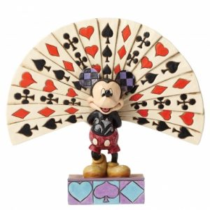 """All Decked Out (Mickey Mouse Figurine) 4050405 Inspired by the animated short, """"Thru the Looking Glass"""" Mickey Mouse deals the winning hand in this colourful new design featuring artist Jim Shore's signature combination of quilt patterning and unique folk art design. The figurine is made from resin. Unique variations should be expected as this product is hand painted. Packed in branded gift box. Not a toy or children's product. Intended for adults only. Height: 16.5cm Width: 6.0cm Depth: 14.0cm SRP: £37.00 each Related Products"""
